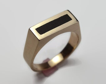 Mens Black Ring Brass and Ebony. Polished Finish. Urban Minimalist Style. Signet Ring 8mm