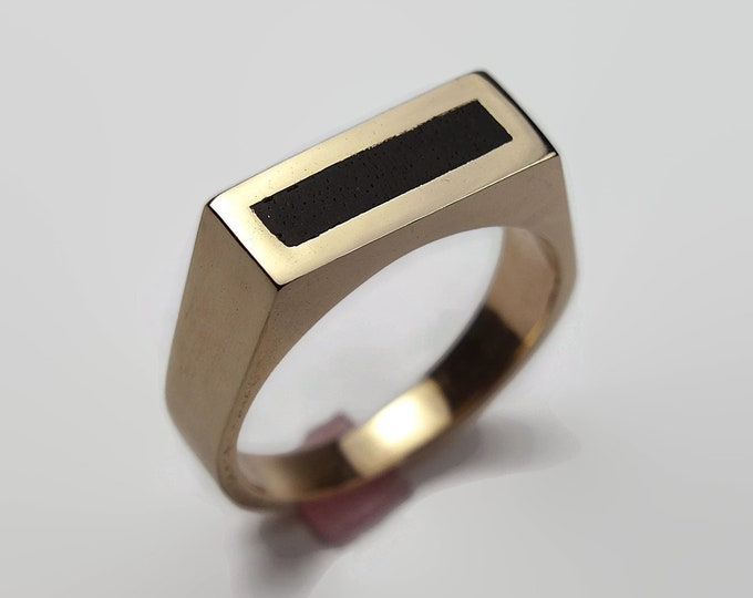 Mens Black Ring Brass and Ebony. Polished Finish. Urban Minimalist Style. Signet Ring 8mm