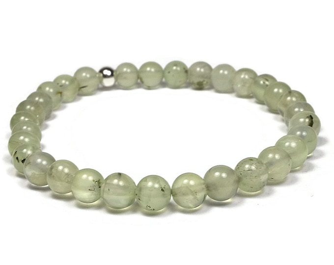 Prehnite and Sterling Silver 6mm Beaded Bracelet, Green Prehnite Beaded Bracelet