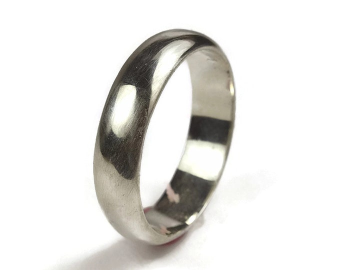 6MM Mens Classic Dome Wedding Ring. Mens Dome Silver Wedding Band. Mens Traditional Dome Silver Wedding Band. Simple Silver Ring Polished