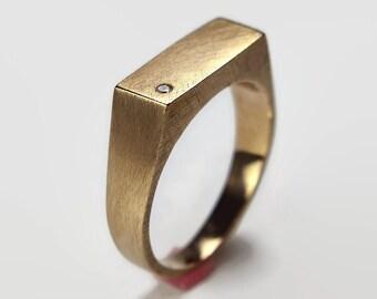Mens Custom Ring Mens Cubic Zirconia Signet Ring Brass Signet Ring Custom Brass Cubic Zirconia Ring Engraved Ring Rectangle Ring
