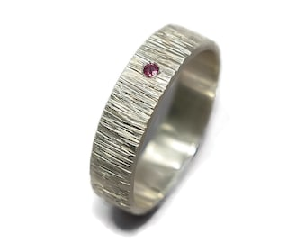 Mens Rustic Ruby Wedding Band Ring. Tree Bark Ruby Wedding Band Ring. Nature Matte Sterling Silver Wedding Band Ring with Ruby Gift for Him