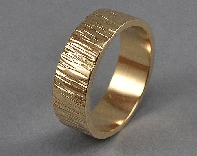 Golden Bronze Tree Bark Wedding Band, Rustic Tree Bark Ring, Tree Branch Ring, Nature Ring, Polished Ring 6mm