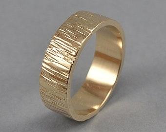 Rustic Brass Tree Bark Wedding Band. Brass Tree Bark Ring,. Tree Branch Ring, Nature Ring, Polished Ring 6mm