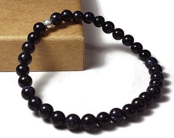 Mens Beaded Blue Aventurine Bracelet. 6mm Blue Aventurine Beads. Blue Bracelet