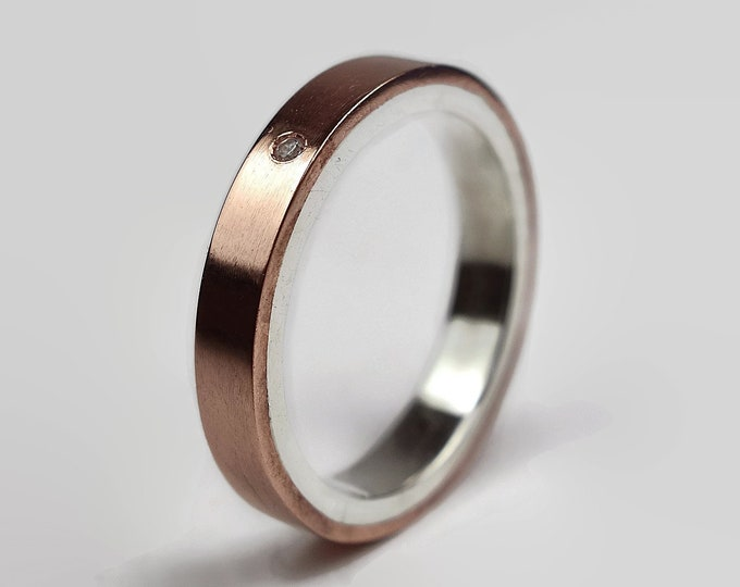 Womens Copper Wedding Band Ring Cubic Zirconia CZ. Unisex Copper Wedding Band. Modern Style. Flat Shape 4mm