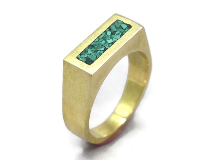 Modern Malachite and Brass Ring Men, Mens Green Malachite and Brass Geometric Ring, Malachite Inlay Brass Ring Polished Finish