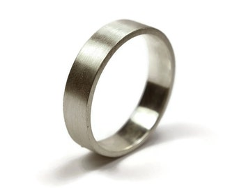 Mens Sterling Silver Wedding Band Ring. Matte Finish. Urban Style. Flat Shape 6mm, Valentines Day Unique Gift