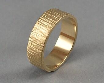 Brass Tree Bark Wedding Ring, Brass Tree Bark Wedding Band, Rustic Tree Bark Ring, Nature Ring, Matte Ring 6mm