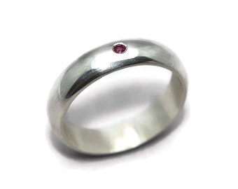 Mens Classic Half Round Ruby Silver Polished Wedding Band Ring. Classic Polished Sterling Silver Wedding Band Ring with Ruby Gift for Him