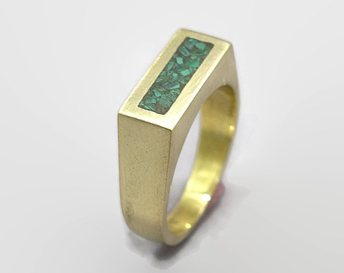 Unique Malachite and Brass Ring Men, Mens Green Malachite and Brass Geometric Ring, Malachite Inlay Brass Ring Matte Finish