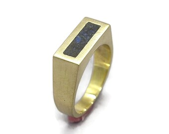 Unique Lapis Lazuli and Brass Ring Men, Mens Lapis Lazuli and Brass Geometric Ring, Lapis Lazuli Inlay Brass Ring Matte Finish