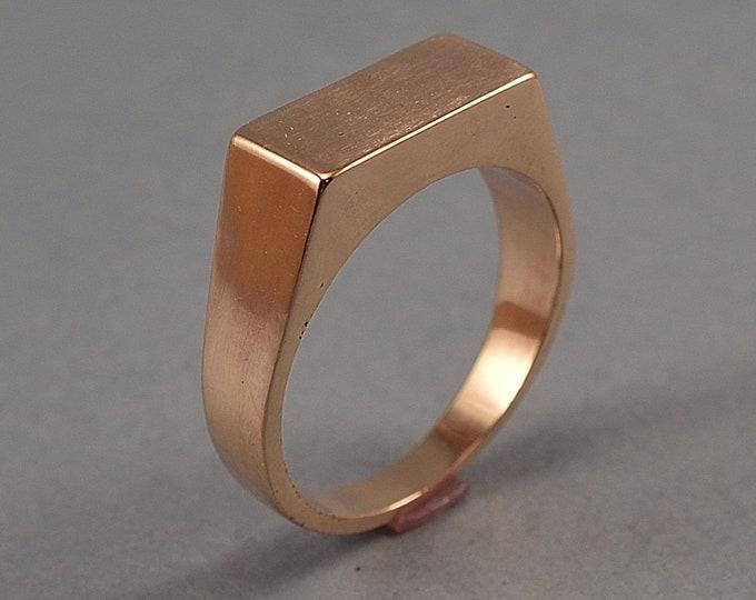 Men's Bronze Signet Ring. Polished Rose Bronze Signet Ring. Men's Red Bronze Ring. Polished Red Bronze Signet Ring for Men