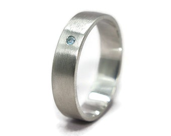 Men's Blue Topaz Ring Band Simple Silver Band Ring With Blue Topaz Matte Ring Men's Jewelry Men's Accessories Gift for Husband Boyfriend