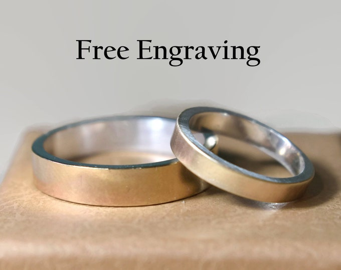9k Gold Wedding Band Set, Gold And Silver Wedding Band Set, Personalized Wedding Band Set, Wedding Rings His And Her Rings Custom Engraving