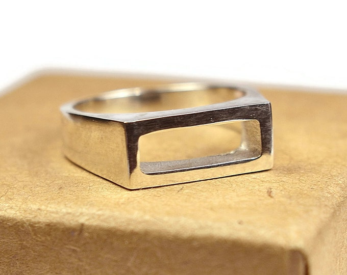 Mens Sterling Silver Rectangle Ring Mens Silver Geometric Ring Polished Silver Ring for Men Geometric Ring Gift for Him Unique Silver Ring