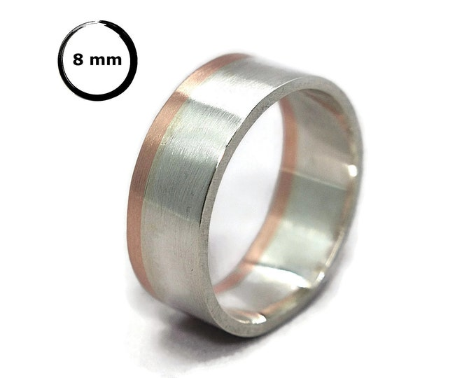 Mens Silver and Copper Wedding Band Ring. Matte Silver and Copper Wedding Band Ring. Classic Silver and Copper Wedding Ring 8mm