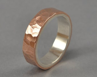 Men's Copper & Silver Ring, Men's Copper Ring, Men's Hammered Copper Wedding Band, Hammered Copper Wedding Ring. Polished Ring 6mm