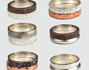 Silver Wedding Band Set Copper Wedding Band Antique Wedding Band Set Personalized Rings Sterling Silver Personalized Rings Copper