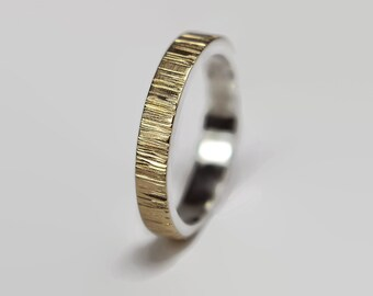 Gold and Silver Wedding Band Ring Tree Bark Nature.