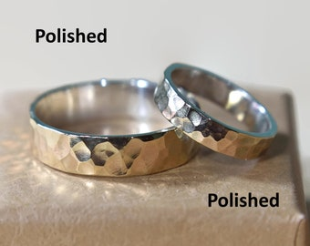 9K Gold and Sterling Silver Hammered Wedding Band Set. Flat Shape 4mm and 6mm