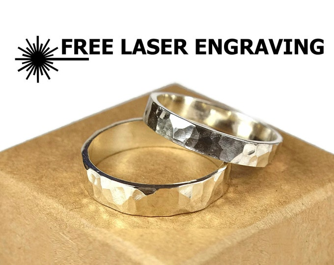 Hammered Sterling Silver Wedding Band Set for Couples. Ring Rustic Style Hammered 4mm and 6mm Free Inside Engraving Custom Engraving