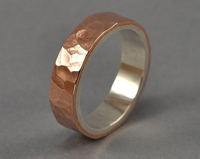 Men's Copper & Silver Ring, Men's Copper Ring, Men's Hammered Copper Wedding Band Ring, Hammered Copper Wedding Ring. Polished Ring 6mm