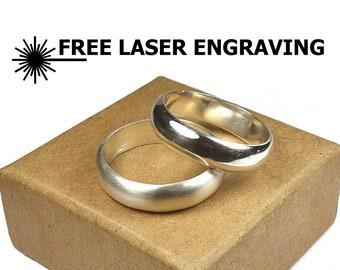 6MM & 6MM Traditional Silver Set Ring, Classic Dome Style Wedding Rings. Simple Silver Dome Couple Wedding Rings. Free Inside Engraving