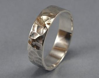 Men's Hammered Silver Wedding Band. Hammered Sterling Silver Wedding Ring Rustic. Engraving Ring. Polished Ring 6mm