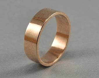 Simple Bronze Wedding Band, Men's Red Bronze Wedding Band Ring, Engraving Bronze Ring, Polished Ring 6mm