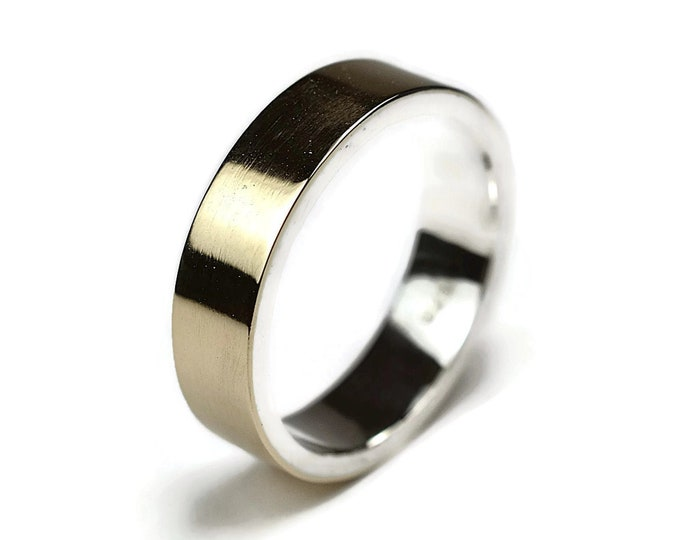 Men's Gold & Silver Wedding Ring. 9k Gold and Sterling 6mm Flat Wedding Ring. Wedding Ring Gold Finish Polished