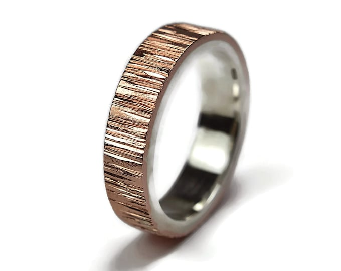 Mens Copper and Sterling Silver Wedding Band Ring Rustic Tree Bark. Wood Grain Ring Silver. Hammered Copper Ring. Ring Flat Shape 6mm