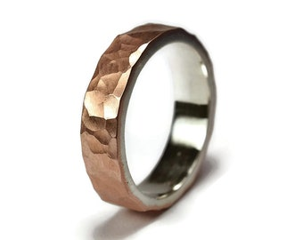 Mens Flat Hammered Copper Wedding Band. Hammered Copper Matte Wedding Ring for Man. Mens Wedding Rings. Hammered Matte Wedding Band