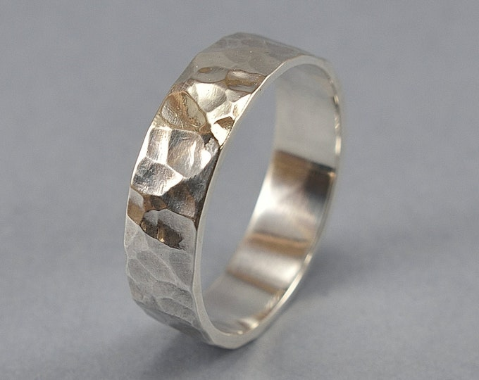 Men's Silver Wedding Band. Rustic Silver Wedding Band. Hammered Texture Wedding Ring. Polished Finish