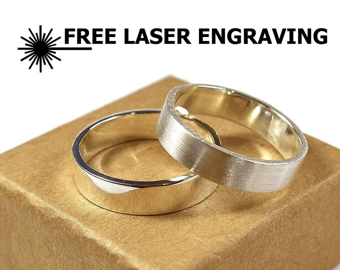 6mm Silver Wedding Band Ring Set. Wedding Ring Band Couples with Free Engraving. His and Hers Wedding Ring Set Custom Engraving Rings