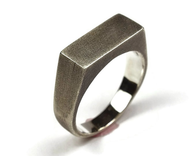 Mens Antique Sterling Silver Signet Ring. Antique Minimalist Style. Wide 8mm. Valentines day unique gift