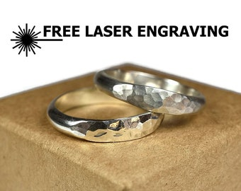 4mm Hammered Sterling Silver Wedding Bands Set His and Hers Wedding Bands Classic Silver Wedding Bands for Couples Free Engraving Ring