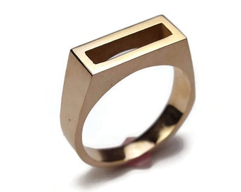 Mens Brass Solitaire Ring. Modern Brass Ring. Mens Geometric Brass Ring. Rectangle Brass Ring Wide 8mm. Original Gift for Him