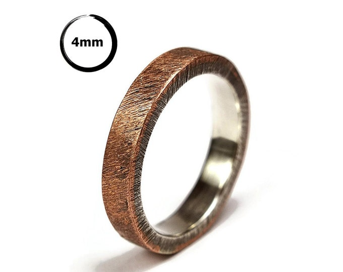 Antique Copper Wedding Band, Unisex Copper Wedding Band, Antique Copper and Sterling Silver Wedding Band Ring 4mm