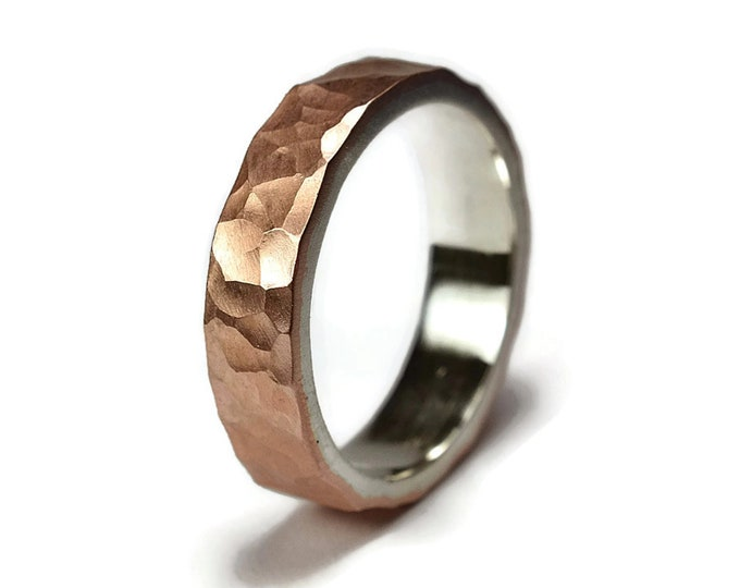 Mens Flat Hammered Copper Wedding Band. Hammered Copper Matte Wedding Ring for Man. Mens Wedding Rings. Matte Ring 6mm
