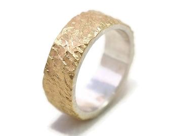 Mens Meteorite Gold Sterling Silver Wedding Band Ring Rustic Gold Wedding Band Ring Gold Meteorite Wedding Band Ring Matte 6mm