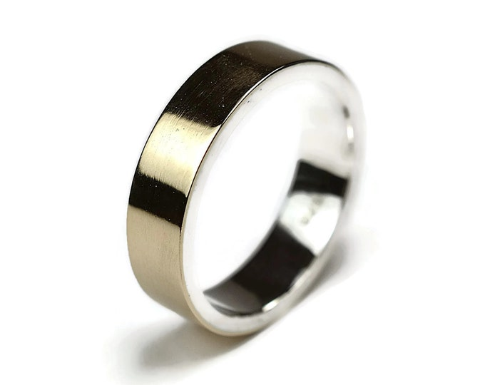 Gold and Silver Wedding Band Ring Modern Flat Shape.