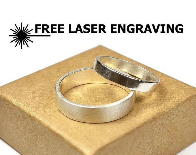 4mm and 6mm Custom Engraved Sterling Silver Wedding Band Ring Set. Couple Wedding Band Ring Set. Classic Silver Wedding Band Sets