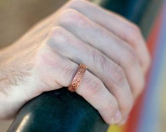 Vintage Floral Bronze Wedding Band. Red Bronze Art Nouveau Ring. Men's Vintage Ring. Matte Finish