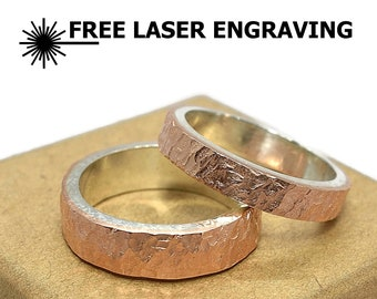 4mm and 6mm Meteorite Copper and Silver Wedding Band Ring Set. Rustic Copper and Silver Wedding Band Ring Set. Moon Copper Ring Set