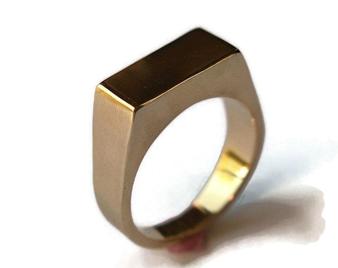 Mens Golden Bronze Ring Mes Signet Golden Bronze Ring Custom Signet Golden Ring Engraved Signet Golden Ring Signet Polished Ring