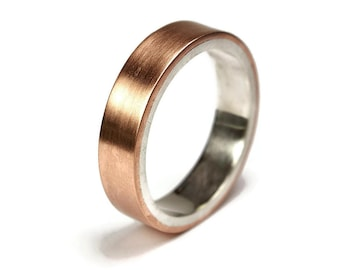 Mens Copper Matte Wedding Band Ring. Promise Ring for Men, Modern Style. Flat Shape. Matte Ring 6mm