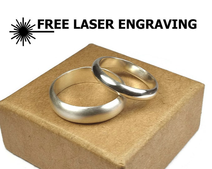 4MM & 6MM Simple Silver Bands Set. Classic Dome Style Wedding Rings. Silver Couple Wedding Rings. Free Inside Engraving. Classic Rings Matte