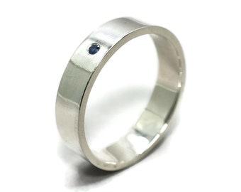 Men's Blue Sapphire Wedding Ring, Men's Gemstone Wedding Ring, September Birthstone Ring, Wedding Ring Blue Sapphire, 6mm Polished Finish