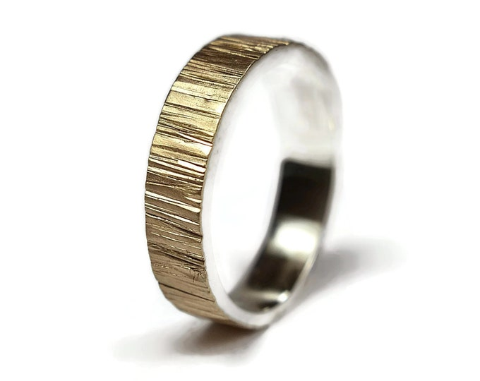 Mens Wedding Band Ring Gold and Silver. Rustic Wedding Band Ring Silver. Gold Tree Bark Wedding Band Ring. Gold Hammered Matte Ring for Him